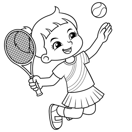 Tennis Girl Jump Smash BW.  Ilustrace