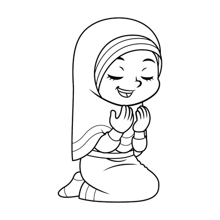Moslem Girl Praying Dua With Sincerity BW.