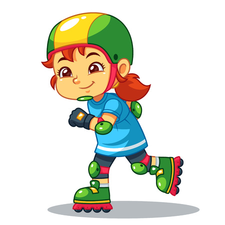 Girl Excersicing With Her Rollerblades.