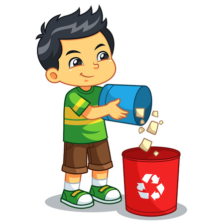 Boy Throwing Garbage In The Trash Can.