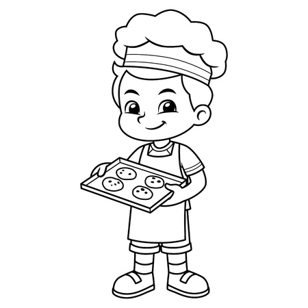 Boy Baking Chocolate Cookies BW. Ilustrace