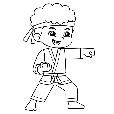 Karate Boy Performing Fist Technique BW.