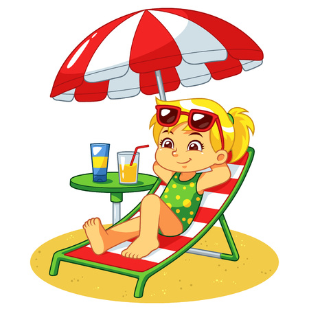 Girl Sunbathing And Relaxing On The Beach. Ilustrace