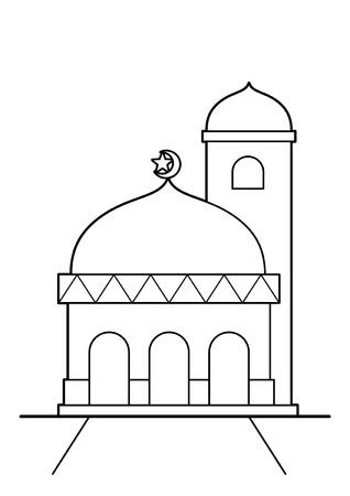 Simple mosque vector cartoon BW