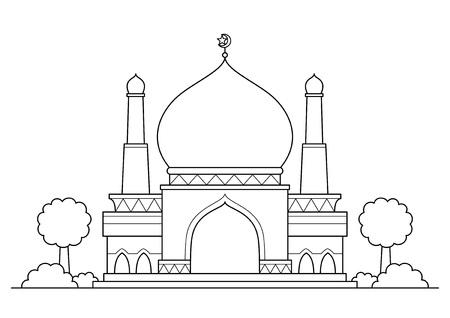 Mosque vector cartoon BW Stock Illustratie