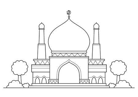 Mosque vector cartoon BW Illustration