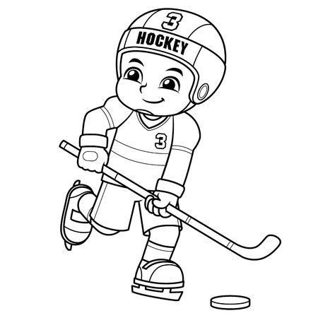 Ice Hokey Player Boy Ready To Shoot BW.  Ilustrace