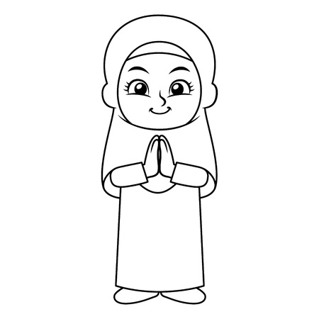 Moslem Girl Hajj Greeting Salaam BW.