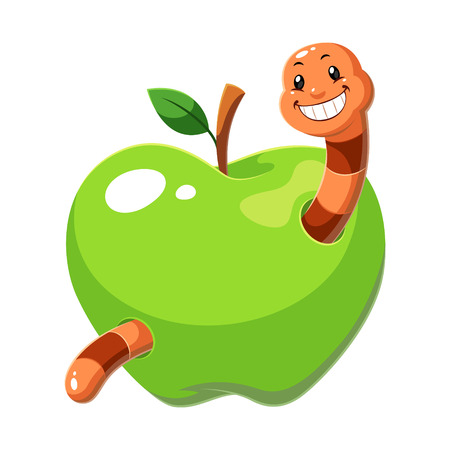 Green apple worm cartoon