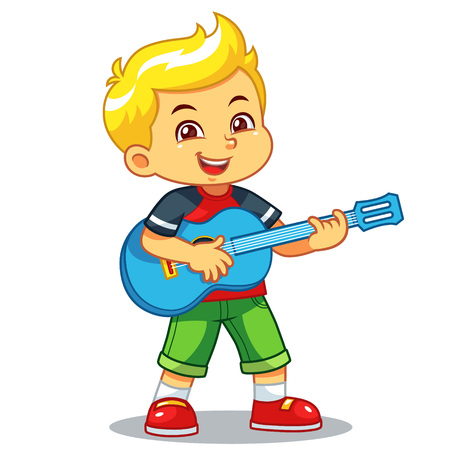 Boy Practicing Music With His Guitar.