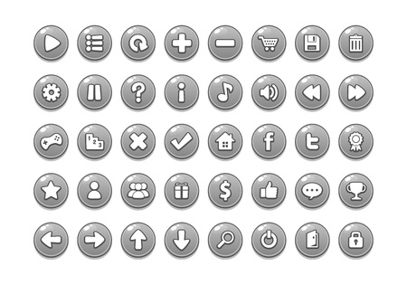Pack of game button templates design. Stock Illustratie