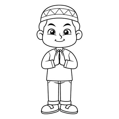 Moslem Boy Greeting Salaam BW Stock Illustratie