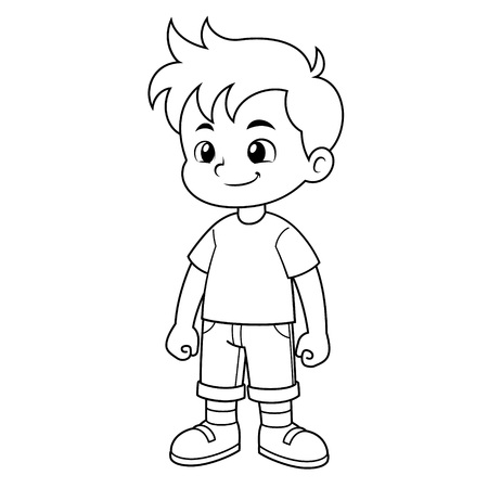 Boy vector cartoon character BW