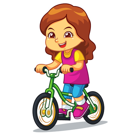 Girl Riding New Green Bicycle.  Ilustrace