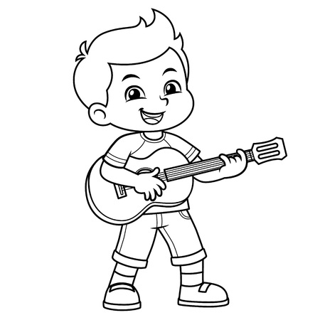 Boy Practicing Music With His Guitar BW.