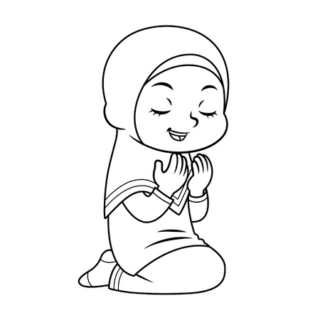 Moslem Girl Praying after salat BW