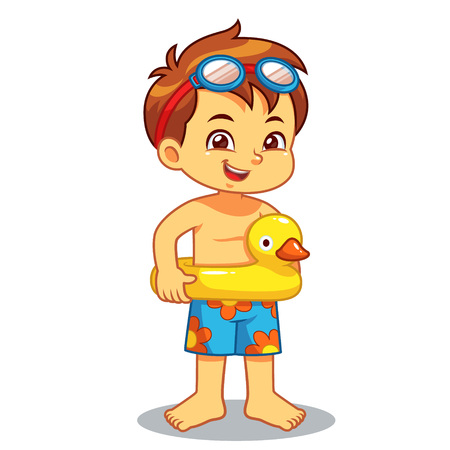 Boy Ready To Swim With Duck Float. Ilustrace