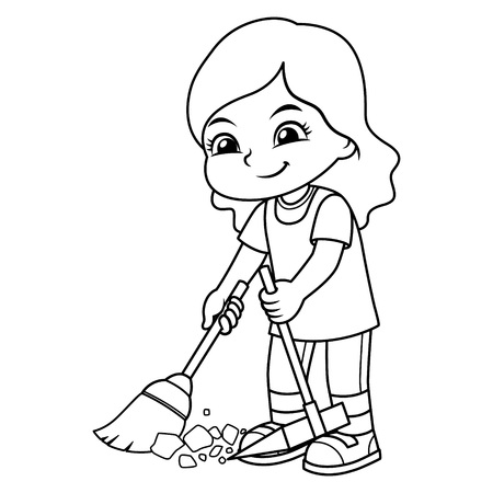 Girl Clean Up Garbage With Broom And Dust Pan BW.