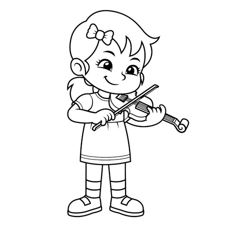 Girl Practicing Music With Her Violin BW.