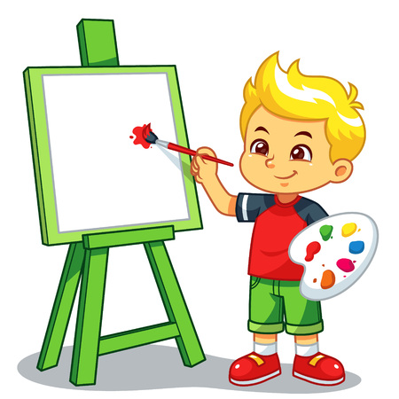 Boy Learning To Paint On His Canvas.