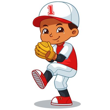 Muchacho del lanzador de béisbol listo para lanzar.