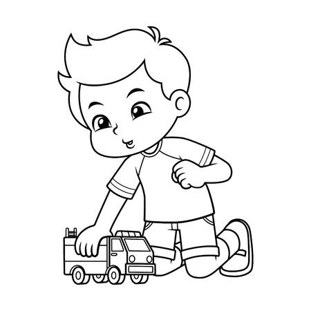 Niño jugando con su camión de juguete BW.