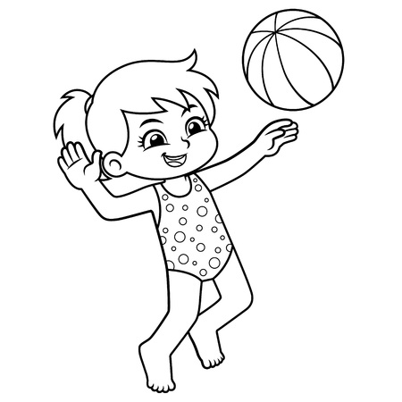 Girl Playing Beach Volley Ball BW. Ilustrace