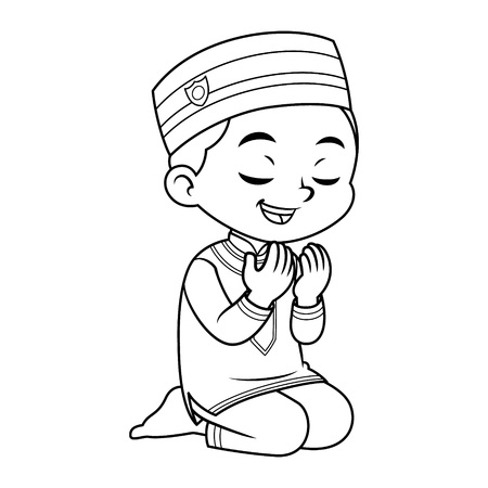 Moslem Boy Praying Dua With Sincerity BW.  Ilustrace