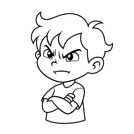 Expresión de niño enojado BW Ilustración de vector