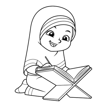 Moslem Girl Reading Quran BW.