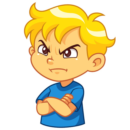 Angry boy cartoon character