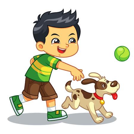 Niño jugando con su perro mascota. Ilustración de vector