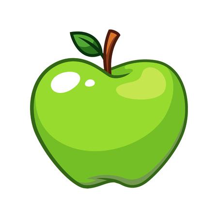 Green apple cartoon  イラスト・ベクター素材