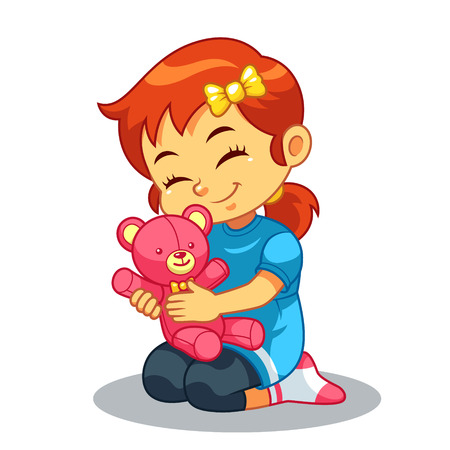 Girl Playing With Her Bear Doll.