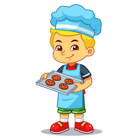 Boy Baking Chocolate Cookies.