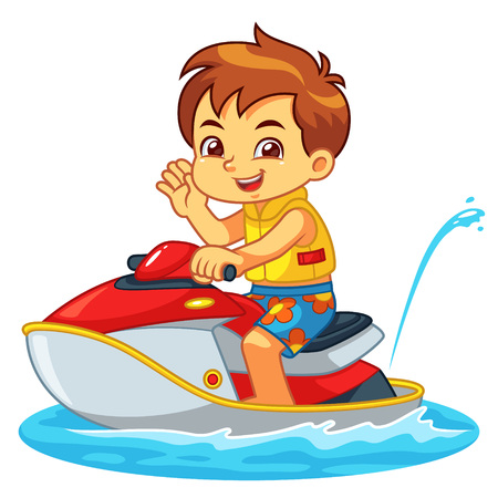 Boy Riding Jetski On The Beach. Ilustrace