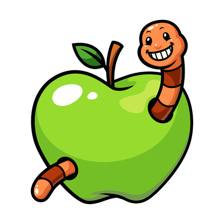 Green apple fruit worm vector cartoon Vectores