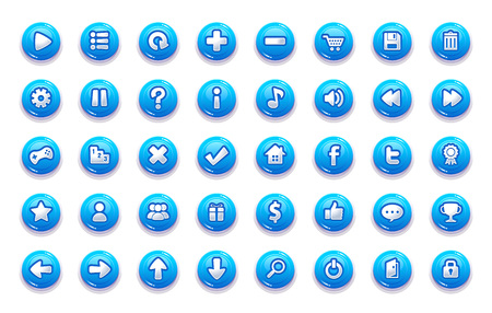Pack of game button templates design. Ilustração