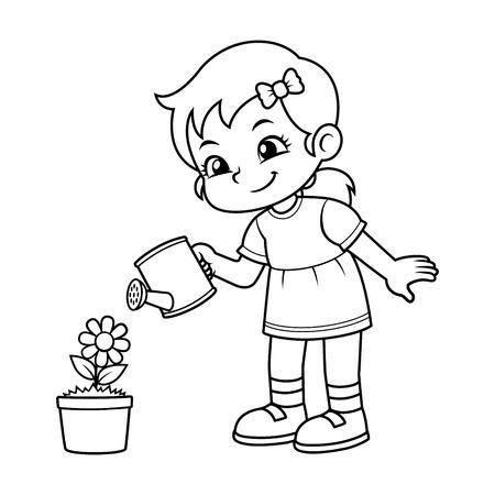 Girl Watering Her Flower Plant BW. Vetores