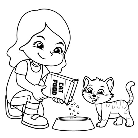 Girl Feeding Her Pet Cat BW.  Ilustrace