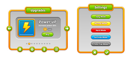 Pack of graphical user interface templates to make a game.