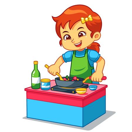 Fille Cuisiner Pour Faire De La Nourriture Délicieuse.