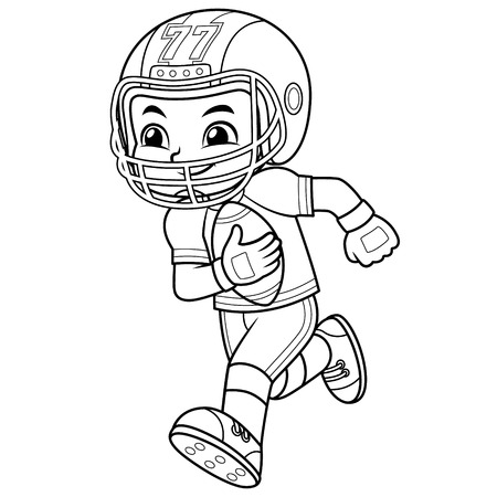 American Football Player Boy Running With Holding Ball BW.  Ilustrace