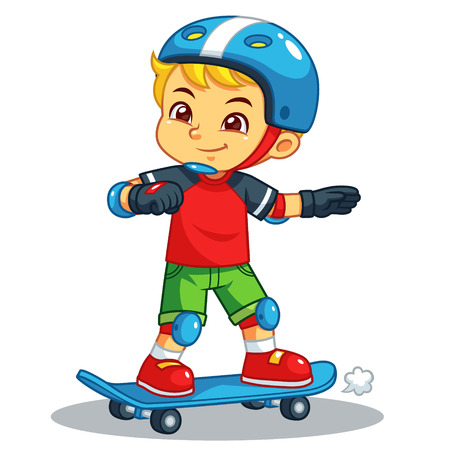 Boy Excersicing With His Skateboard. Ilustrace