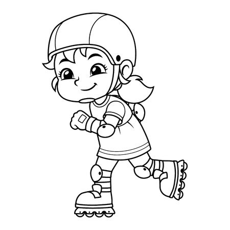 Girl Excersicing With Her Rollerblades BW. Ilustrace