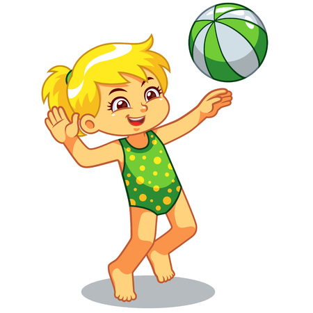 Girl Playing Beach Volley Ball.