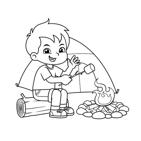 Boy Making Campfire And Baking Marshmallow BW.
