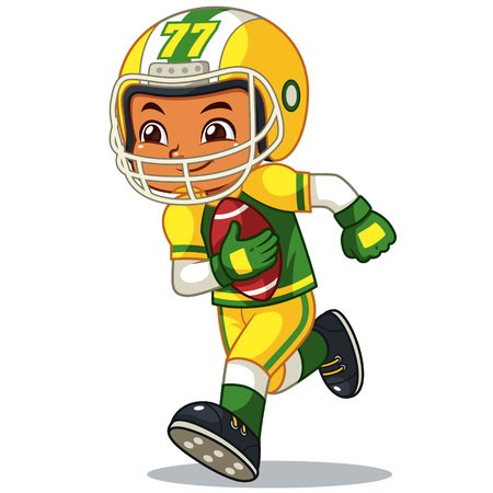 American Football Player Boy Running With Holding Ball.  Ilustrace