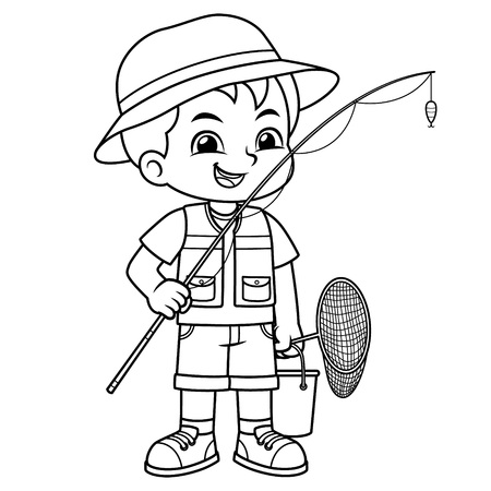 Boy Ready For Fishing On The Lake BW. Ilustrace