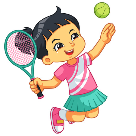 Tennis Girl Jump Smash.  Ilustrace
